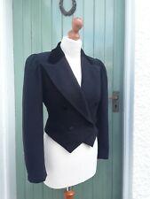Vintage Laura Ashley Victorian Cropped Riding Jacket Wool Velvet Size 12