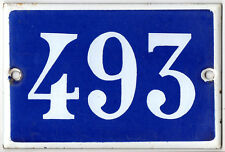 Old French house number 493 door gate plate plaque enamel steel metal sign