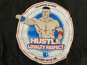 John Cena Hustle Loyalty Respect Black T-Shirt 2XL XXL WWE NXT Never Give Up AEW