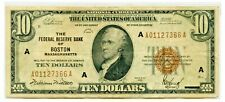 1929 $10 Ten BOSTON Massachusetts Federal Reserve Bank Note National Currency