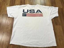 Large - Vtg 90s Nike Usa Swoosh Flag Cotton T-shirt Made Usa
