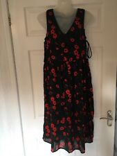 Ladies Dress Sz 12 Black Red Fully Lined Poppy Lace-Up Sides Sleeveless Summer