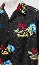 KAD Clothing mens Asian Oriental theme shirt Size L - fish palm tree huts poly