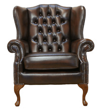 Chesterfield Mallory Flat Wing Queen Anne High Back Armchair Brown Leather