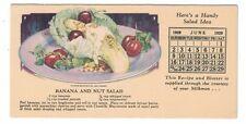 1929 Blotter Calendar Banana Nut Salad Recipe - Courtesy of Your Milkman