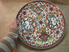 """Old Chinese Platter TOBACCO LEAF Famille Rose MEDALLION PEACHES 14"""" Porcelain"""