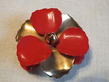 "Beautiful Brooch Pin Gold Tone Flower Red Enamel 2 1/2"" Nice"