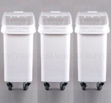 Heavy Duty Commercial 21 Gallon Dry Ingredient Storage Bin Clear Lid Casters