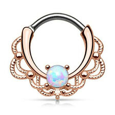 OPAL STONE FILIGREE LACEY SEPTUM CLICKER NOSE RING HOOP EAR PIERCING 1.2MM 16G