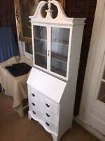 Vintage Painted Secretary 2 Tone Flint Grey & White
