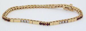Vintage heavy 14K gold elegant 2.10CTW diamond & ruby line fancy link bracelet