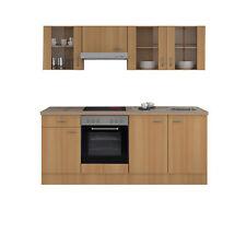 Küchenzeile mit Elektrogeräten Küchenblock E-Geräte Einbauküche 210 cm buche