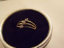 BAGUE RING ANELLO OR 18K GOLD FILLED ROUND WHITE TOPAZ RING T54/7 / New