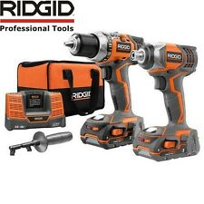 Ridgid R9600 18V Compact Drill and Impact Driver Kit w/ 2 Batteries Charger