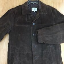 LINEA UOMO vtg leather jacket coat brown suede L weatern rancher quilted lining