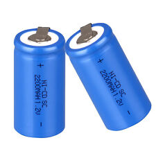2 Pcs Rechargeable Battery Sub C SC 1.2V 2200mAh Ni-Cd Batteries - Blue
