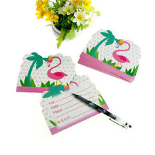 10pcs flamingo invitations cards baby shower happy birthday party invitations BR