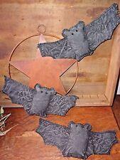 Primitive BATS Folk Art Trio of Bowl Filler Ornies Rustic Fall Halloween Decor