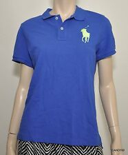 Nwt $98 Ralph Lauren The Skinny Fit Polo Big Pony Mesh Cotton Shirt Top Blue L