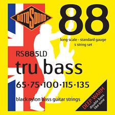 ROTOSOUND RS885LD TRU BASS BLACK NYLON BASS STRINGS, STANDARD GAUGE 5's - 65-135