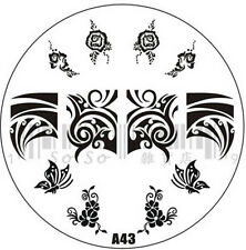 Nail Art Stamp Stamping Image Template Large Circle Plate A Series *** A43 ***