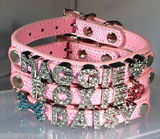 Medium CUSTOM Pink Leather Rhinestone Dog Collar PERSONALIZED 6 FREE Letters USA