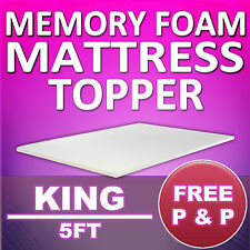 MEMORY FOAM MATTRESS TOPPER - KING 5FT BED SIZE - FREE & FAST DELIVERY
