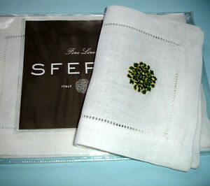 Sferra Herald Cocktail Napkins White Linen Green & Gold Embroidery SET/4 New