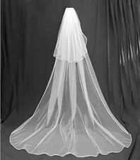 6v Romantic Long WHITE Cathedral length Bridal Wedding Veil with Blusher