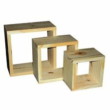 New Natural Wood Wooden Wall Cube Cubes Shelf Shelves Set Of 3 Display Unit