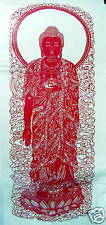 Chinese Paper Cuts Buddha Red Color Very Large Single piece