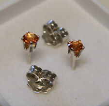 4 mm Orange Sapphire gemstone stud earrings in sterling silver
