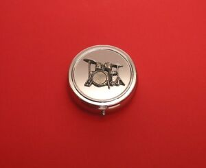 Drum Kit Pewter Motif Chrome Mint / Pill Box Music Teacher Musician Gift