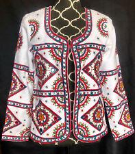 Nina Kaufmann Ivory AnthropologieBoho Multicolor Embroidery Mirrored Jacket sz M