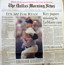 Best 1990 Dallas hdlne newspaper TEXAS RANGER pitcher NOLAN RYAN WINS 300th GAME