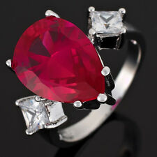 14mm Red Ruby Garnet Topaz 18K White Gold Plated Pear Cocktail Ring Size O 7