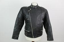 """JARVIS BOND FRANK FURT Black Leather Biker Jacket Size 42"""""""