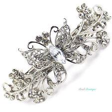 Boda nupcial Plata Cristal Vintage Mariposa Pasador Cabello Clip Agarre Cl11