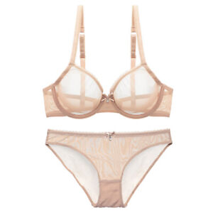 See Through Mesh Sheer Bra and Panty Ultra-thin Sexy White Unlined Bra Set