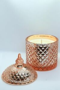 Metallic Rose Gold Patterned Glass Jar Candle with Lid