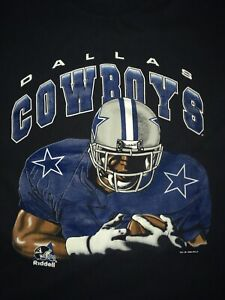 VTG Dallas Cowboys T-Shirt Mens XL Black 1996 Riddell NFL Football Double Sided