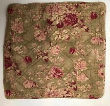 Pottery Barn Euro Pillow Sham Quilted Tan Pink Magenta Rose 23X23�