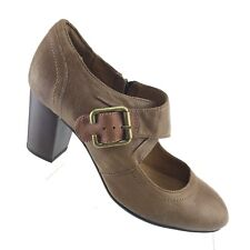 Clarks Indigo Town Club Heel Brown Leather Side Zip Buckle Women Shoe SIZE 7.5 M