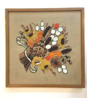 1970s Fall Flowers Funky Hippy Kitsch Crewel Wool Embroidery Framed Art Vintage