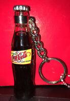"Vtg COCA COLA Coke mini Bottle w liquid keyring key chain keychain 3"" Las Vegas"