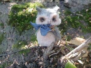 miniature teddy owl 3,3 inches mohair