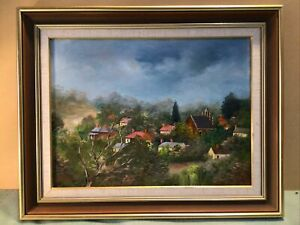 Tricia Tatham  Maldon Rooftops Framed Oil Painting