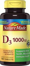 Nature Made Vitamin D 3, 1000IU 100 Tablets Support strong bones, joints & teeth
