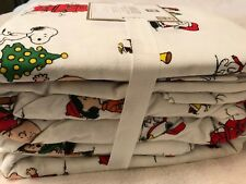 New Cozy Pottery Barn Peanuts Charlie Brown Bedding Queen Sheet Set Flat, Fitted
