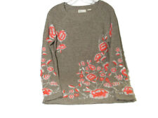 Anthropologie Sleeping on Snow Pullover Sweater Wool Blend Crewel Embroider S/P